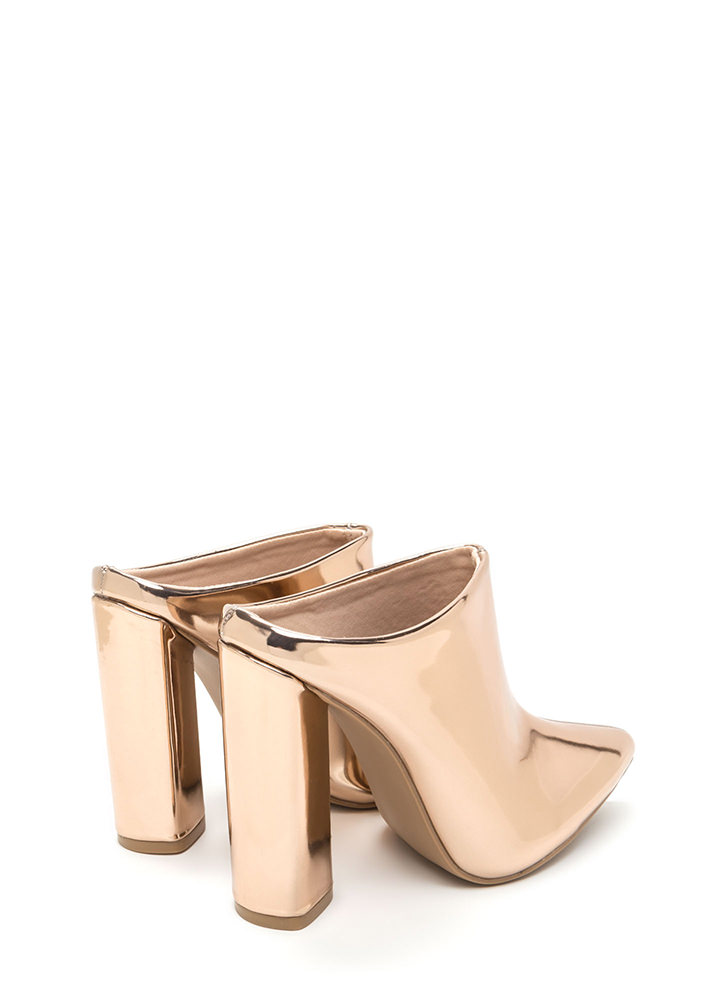 Point Taken Chunky Metallic Mule Heels ROSEGOLD