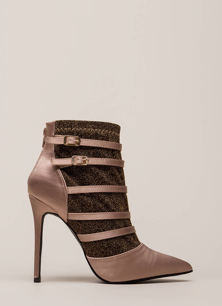 Layer It Down Pointy Caged Heels MAUVE