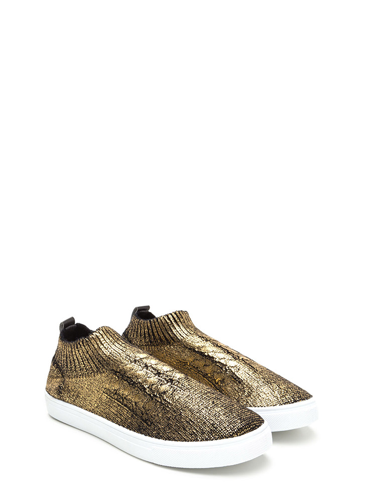 Sock Away Metallic Knit Sneakers BRONZE