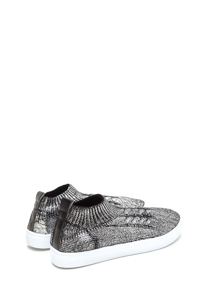 Sock Away Metallic Knit Sneakers PEWTER