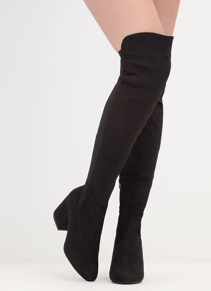 Mixed Mode Chunky Thigh-High Boots BLACK