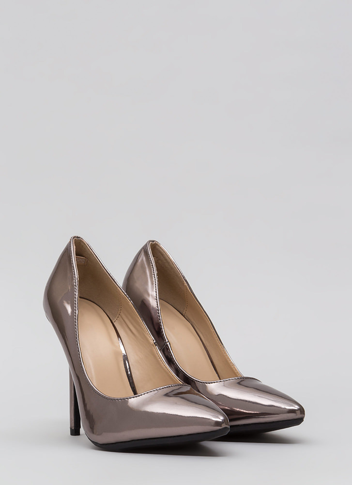 Make A Point Metallic Stiletto Pumps PEWTER