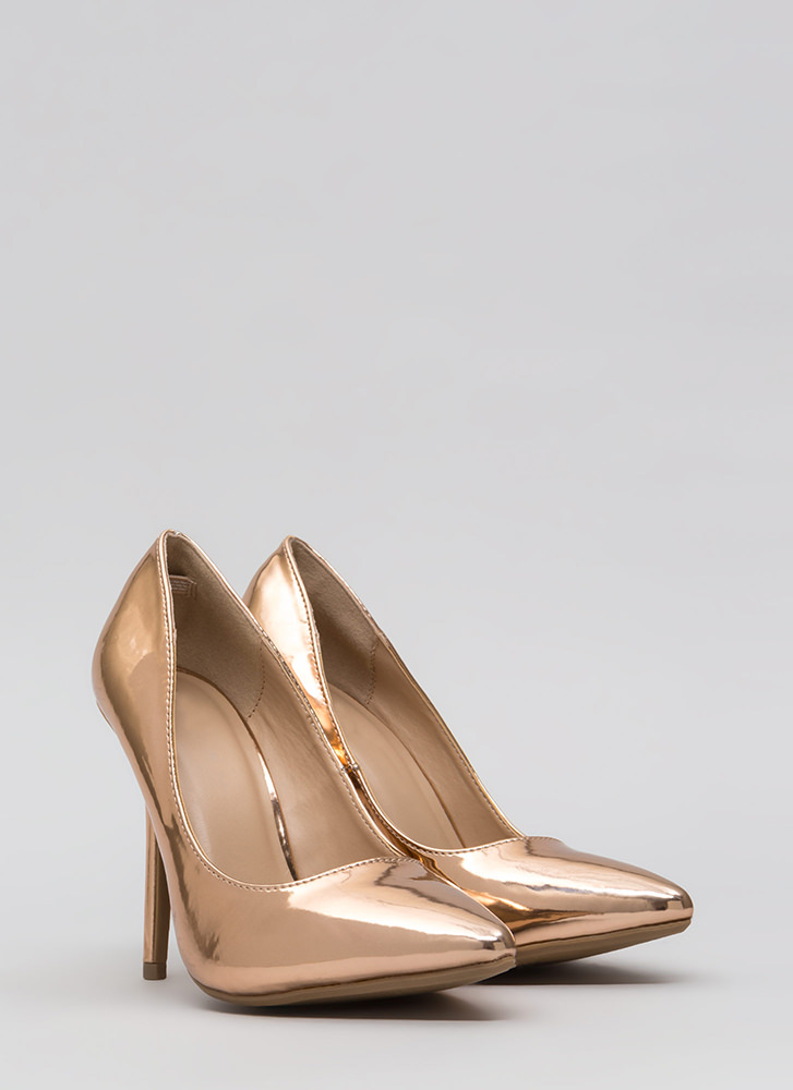 Make A Point Metallic Stiletto Pumps ROSEGOLD