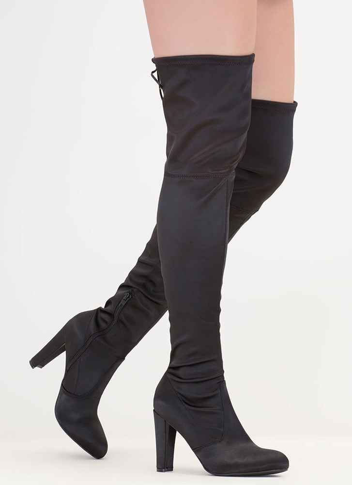 Luxe Lady Chunky Tied Thigh-High Boots BLACK
