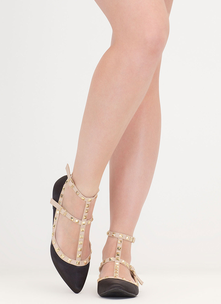 Stud Your Stuff Pointy Caged Satin Flats BLACK