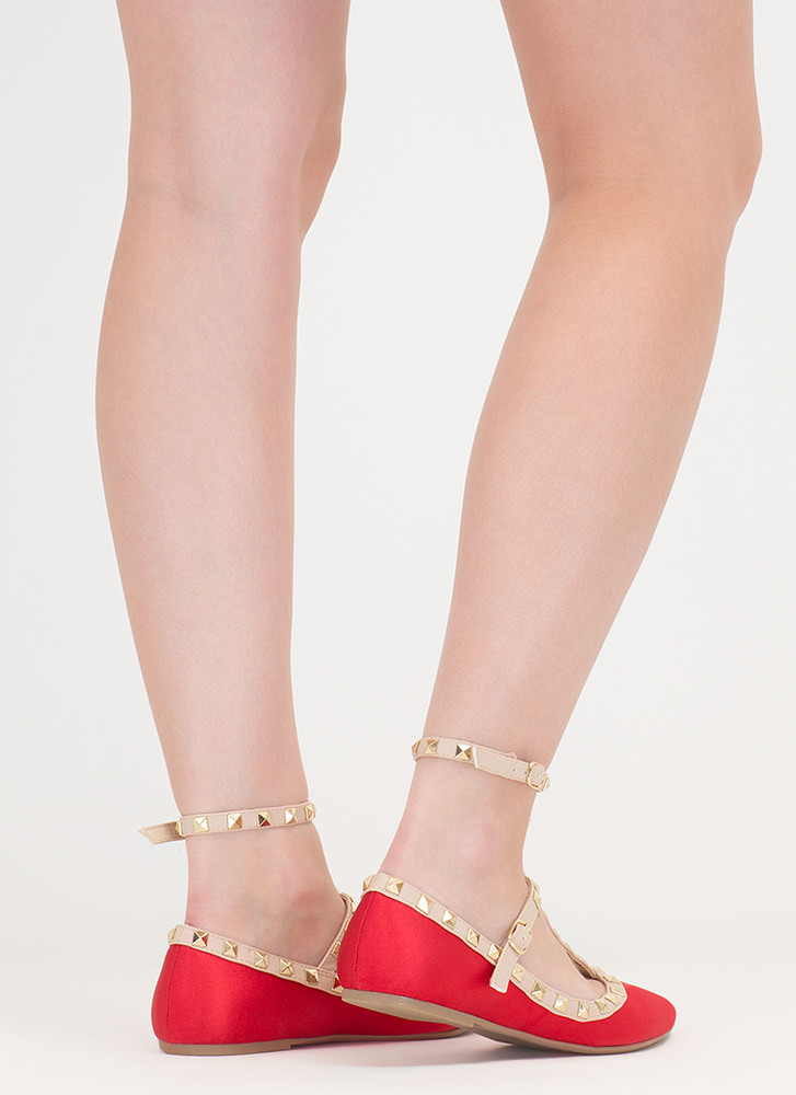 Stud Your Stuff Pointy Caged Satin Flats RED