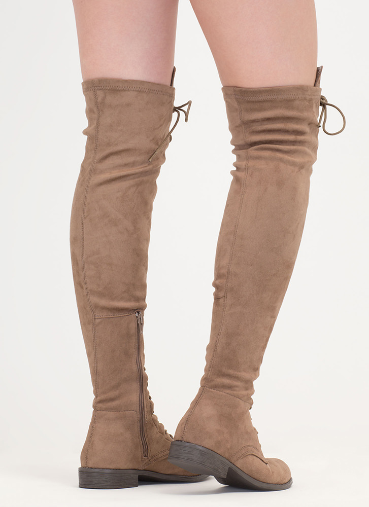 Stand Tall Lace-Up Thigh-High Boots TAUPE