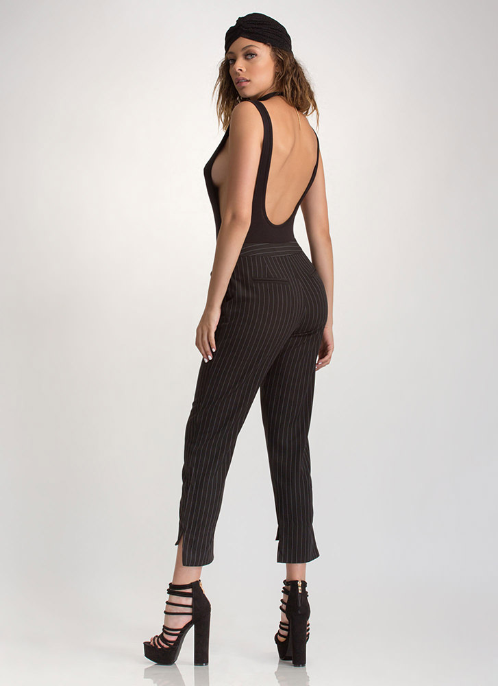 Lined Formation Pinstriped Pants BLACKWHITE