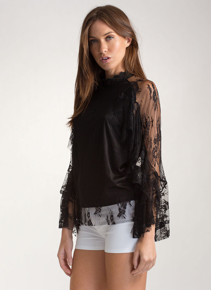 Delicate Touch Ruffled Sheer Lace Top BLACK
