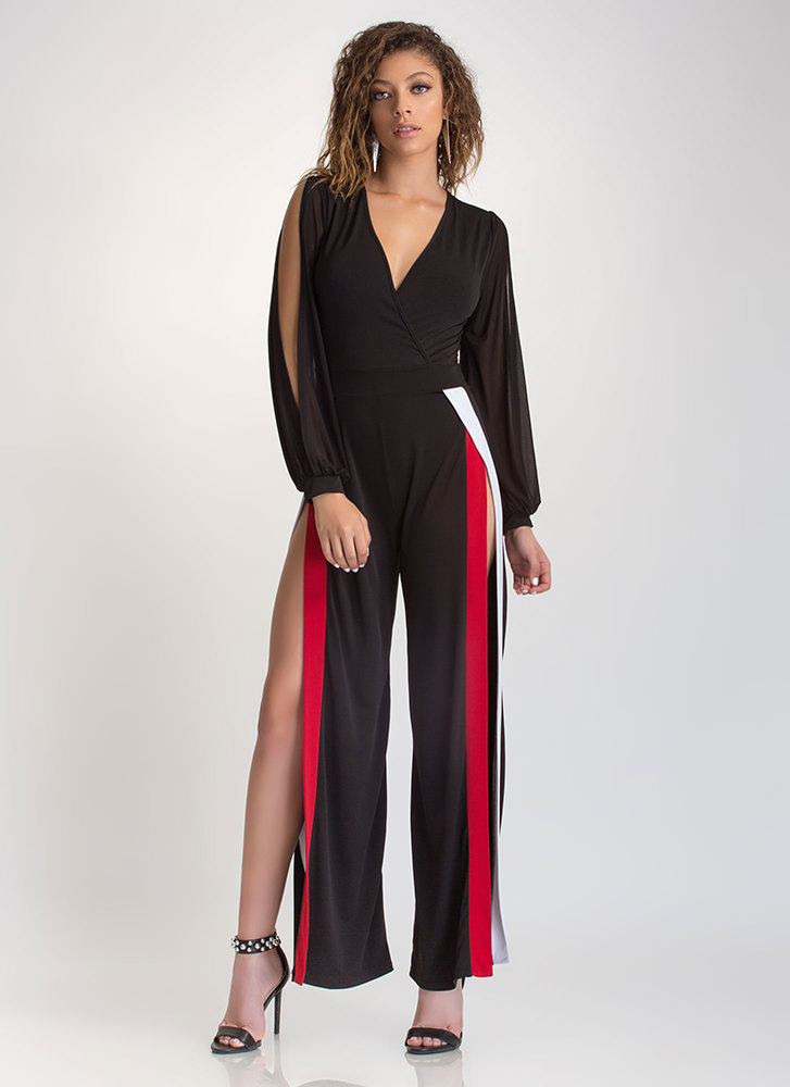 Flow Of Energy Slit Palazzo Jumpsuit BLACK