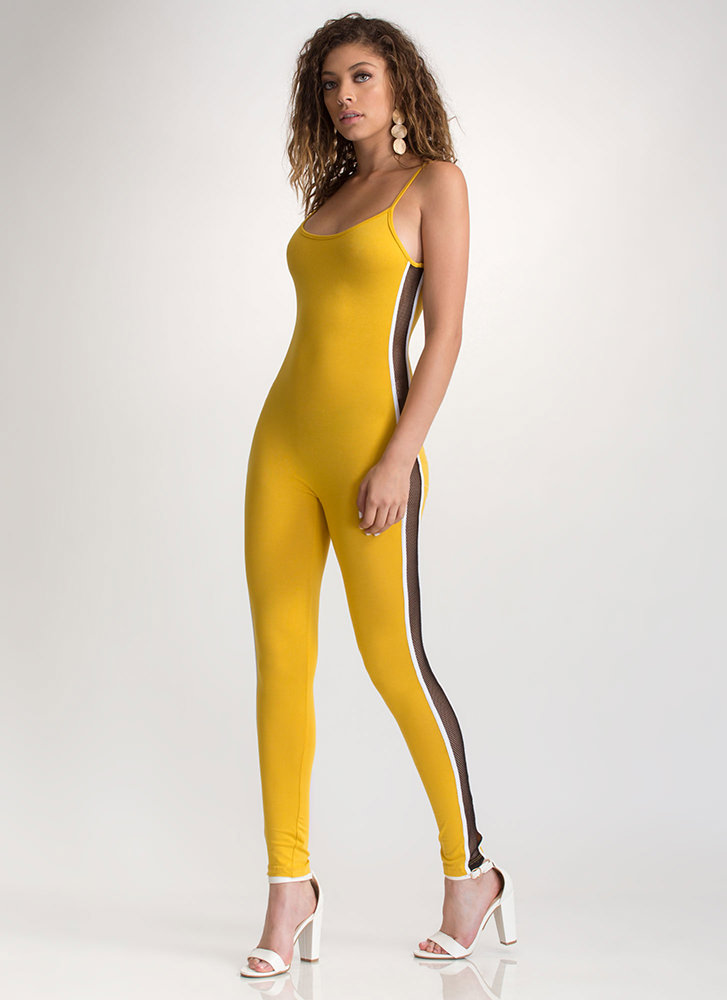Net Worth Lace-Up Leggings MUSTARD