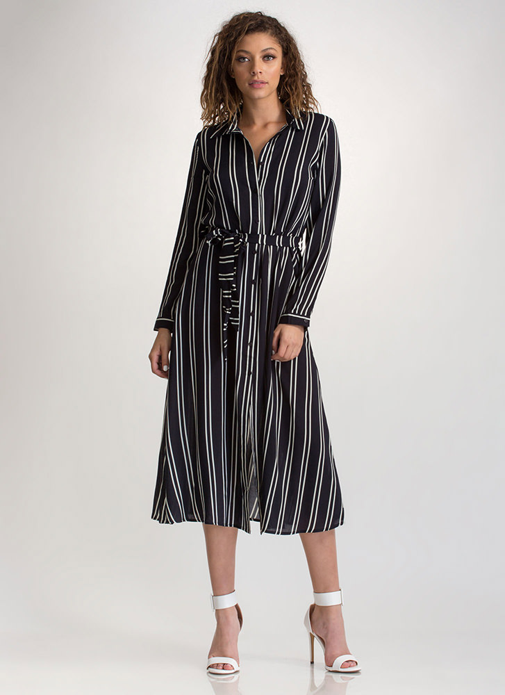 In Between Lines Belted Shirtdress NAVY