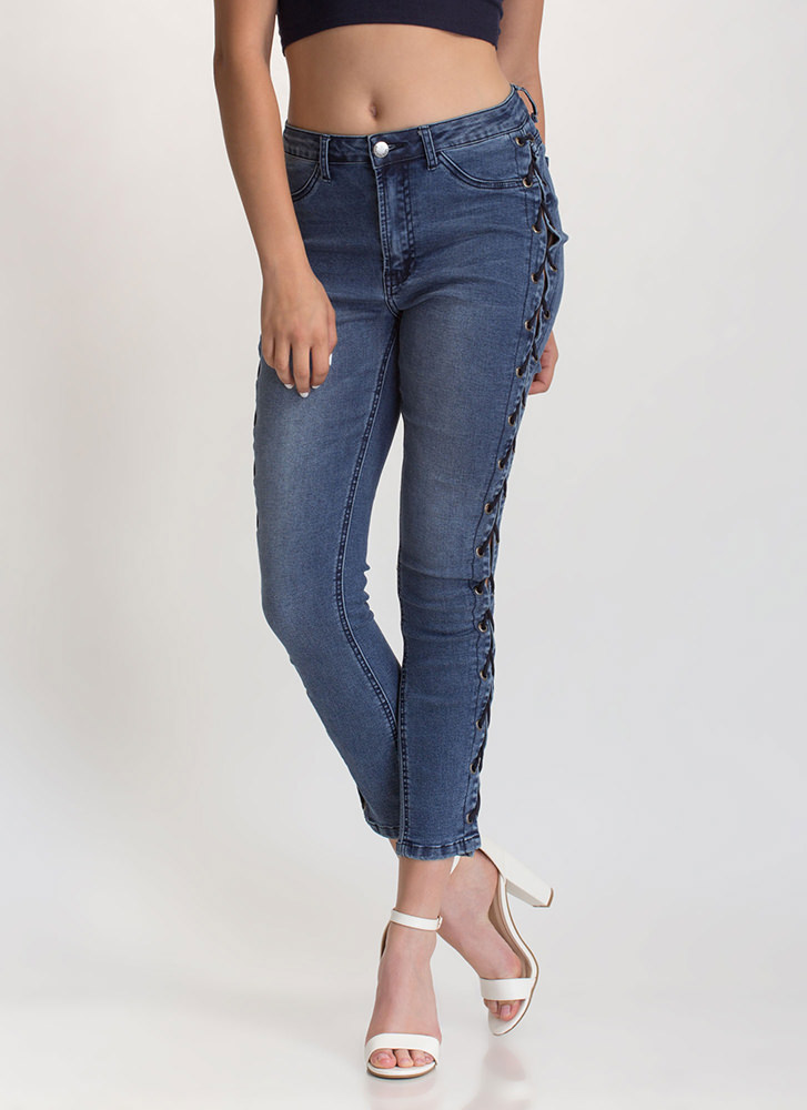 Trendy Peek Lace-Up Skinny Jeans BLUE