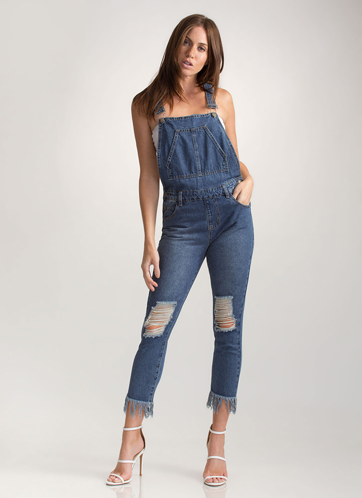 School Girl Cool Distressed Overalls BLUE