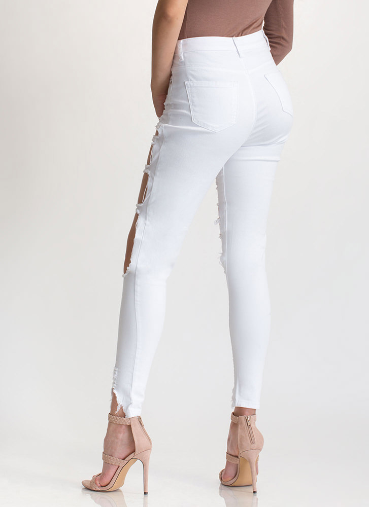 Ripped To Shreds Cut-Out Skinny Jeans WHITE