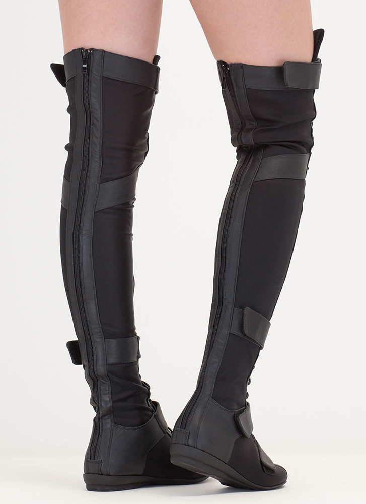 Space Cadet Mixed Media Thigh-High Boots BLACK