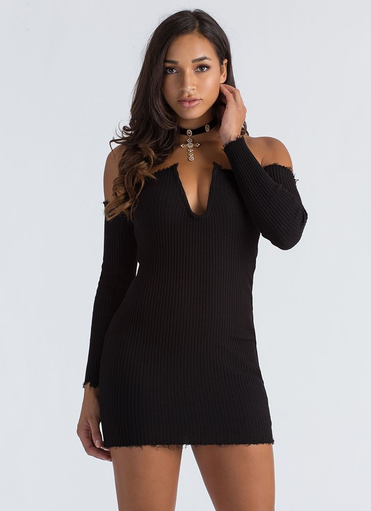 U Got It Ribbed Off-Shoulder Dress BLACK