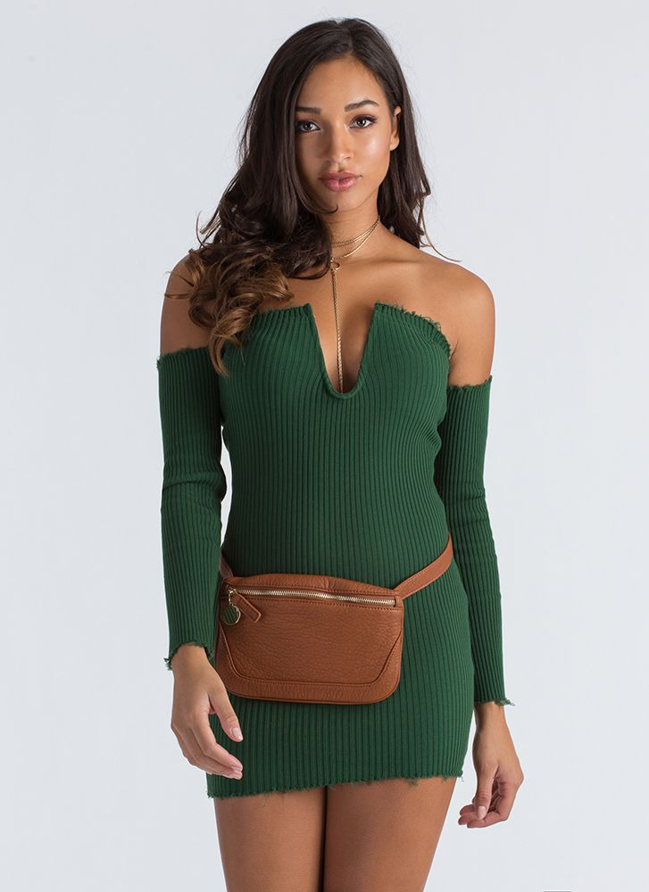 U Got It Ribbed Off-Shoulder Dress OLIVE
