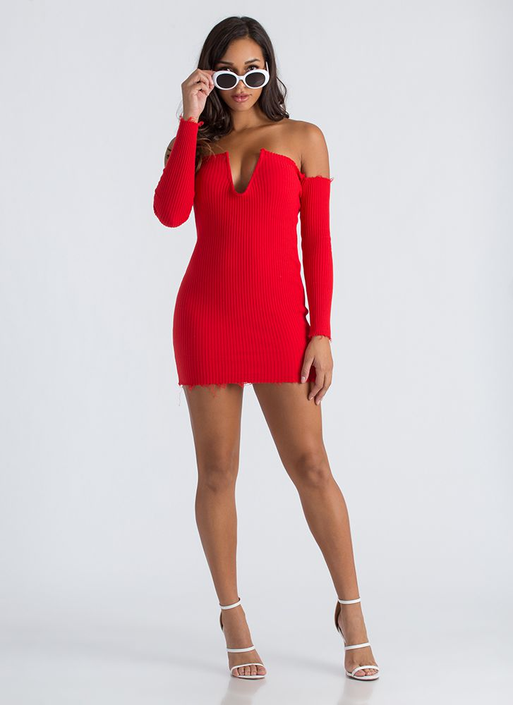 U Got It Ribbed Off-Shoulder Dress RED