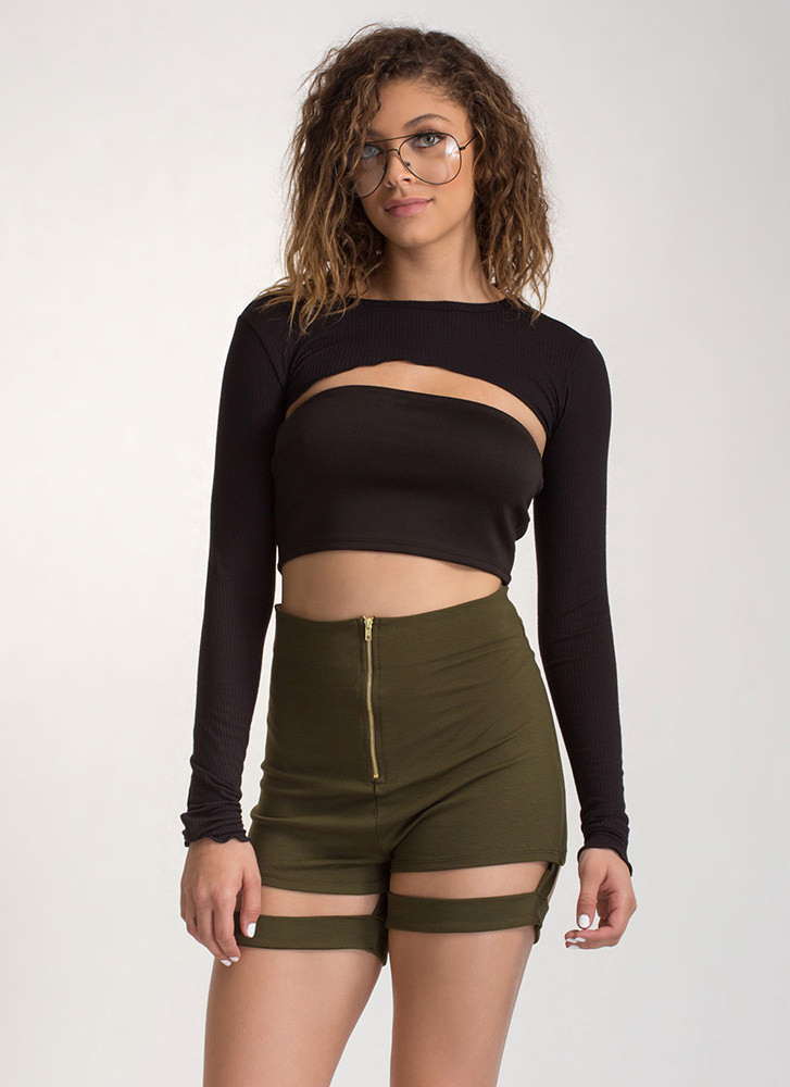 Music Video High-Waisted Garter Shorts OLIVE