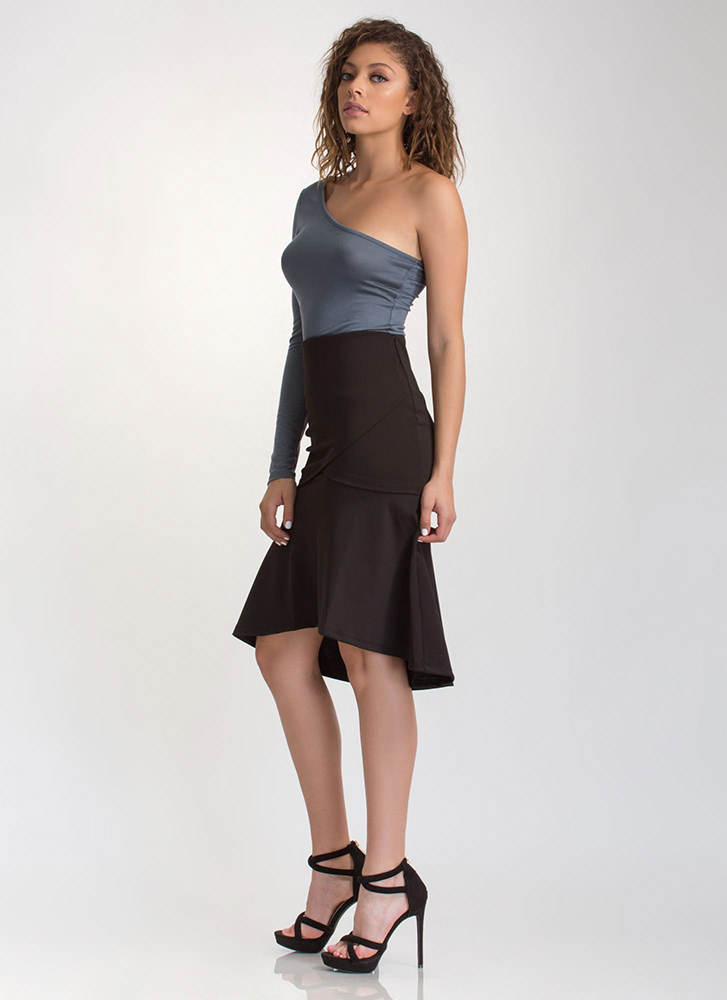 Twirl Meets World Faux Wrap Skirt BLACK