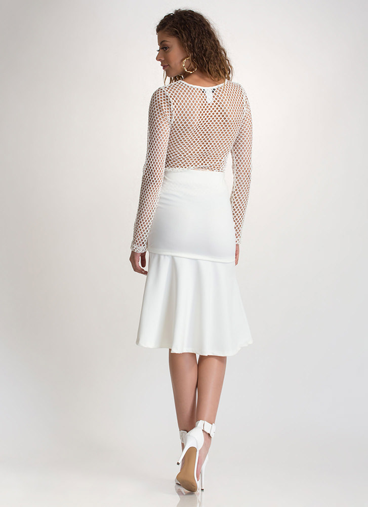Twirl Meets World Faux Wrap Skirt WHITE