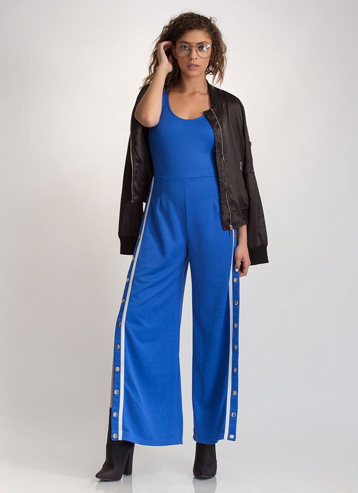 Inside Track Striped Tear-Away Jumpsuit ROYAL