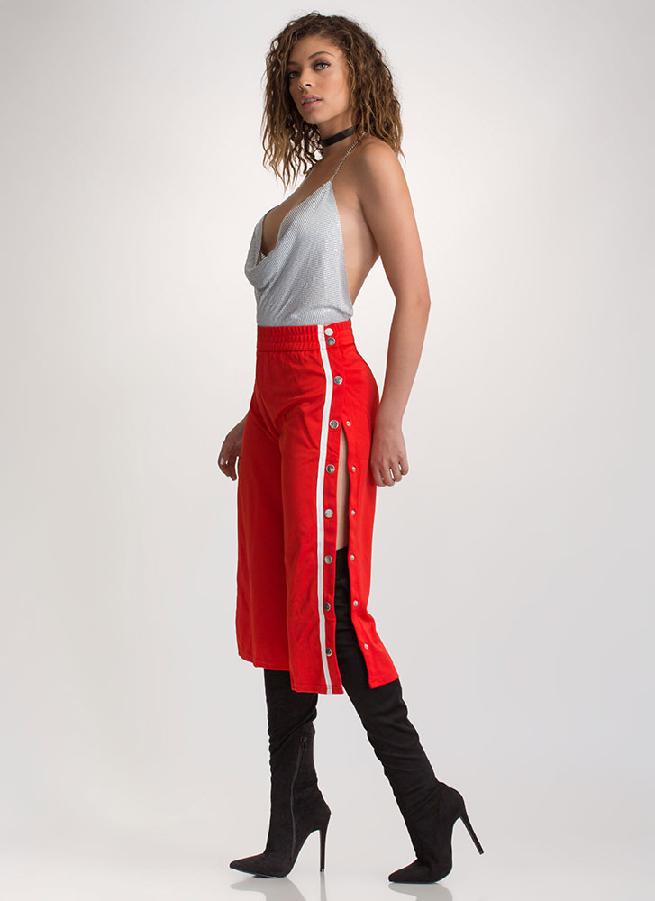 Fast Track Striped Cropped Pants RED