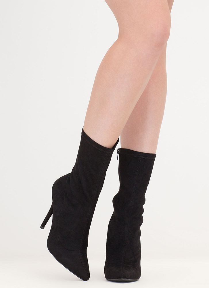 Stylish Point Faux Suede Booties BLACK