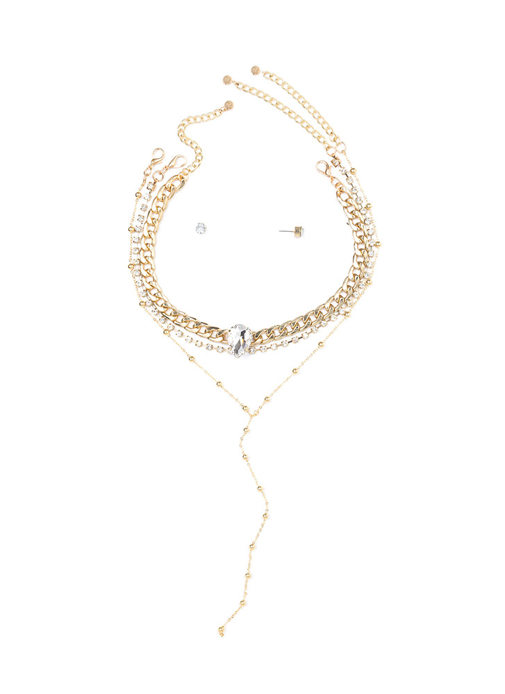Glitz All Yours Triple Necklace Set GOLD