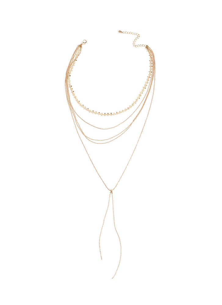 Dainty Surprise Layered Y-Necklace GOLD