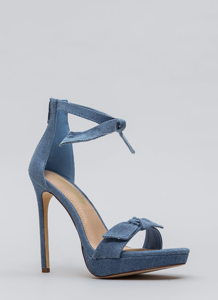 Tie And Tie Again Washed Denim Heels BLUEWASH