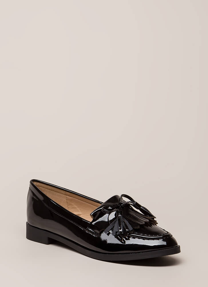 Bow-Getter Shiny Faux Patent Loafers BLACK