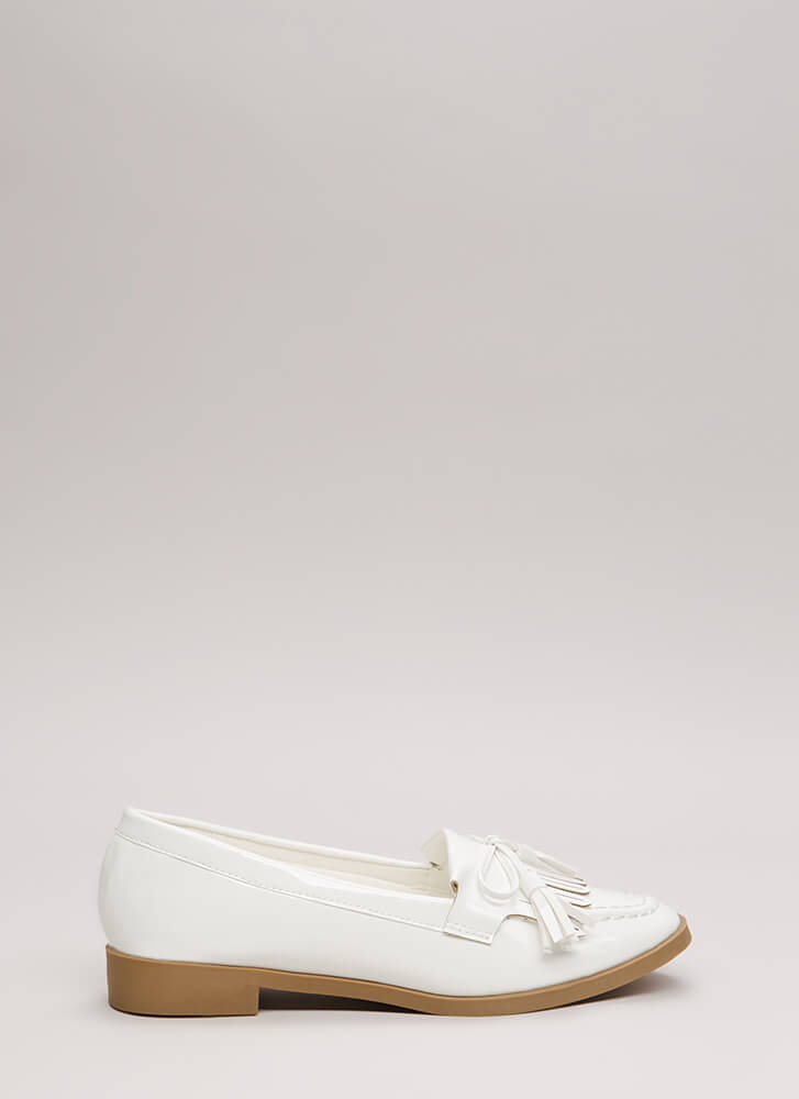 Bow-Getter Shiny Faux Patent Loafers WHITE
