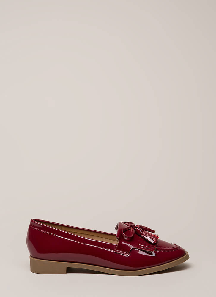 Bow-Getter Shiny Faux Patent Loafers WINE