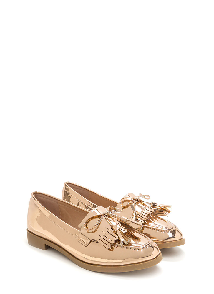 Bow-Getter Metallic Faux Patent Loafers ROSEGOLD (Final Sale)