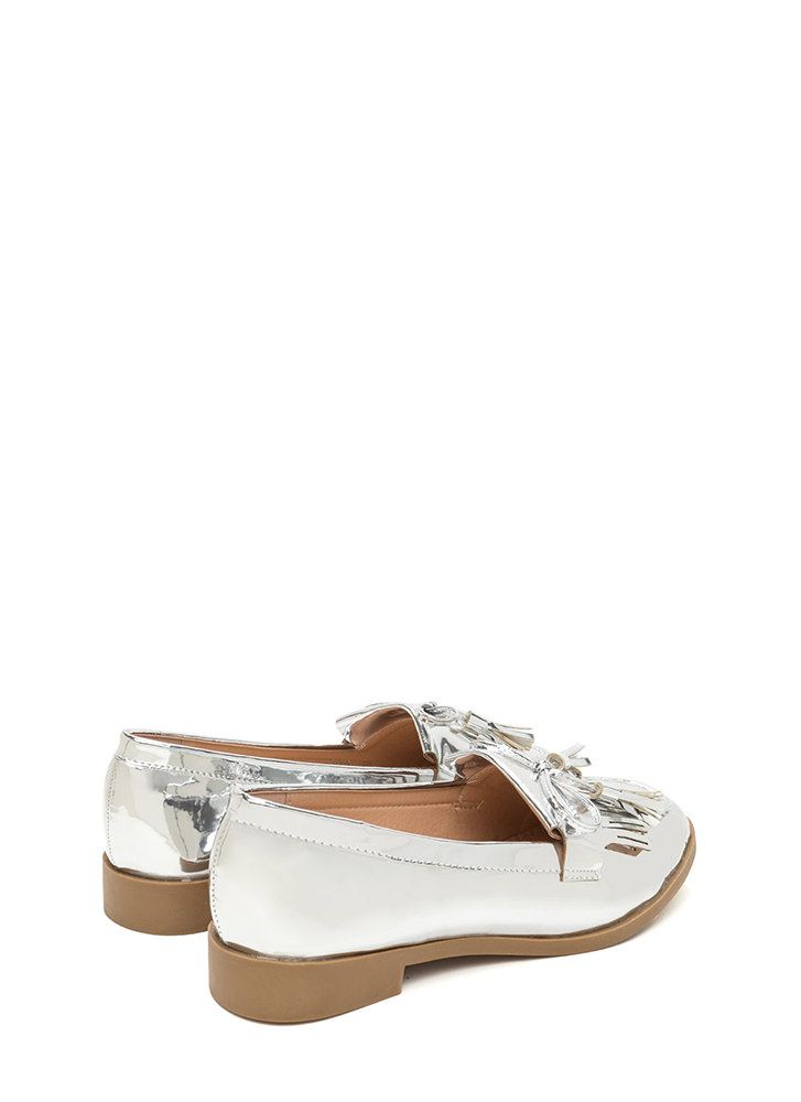 Bow-Getter Metallic Faux Patent Loafers SILVER