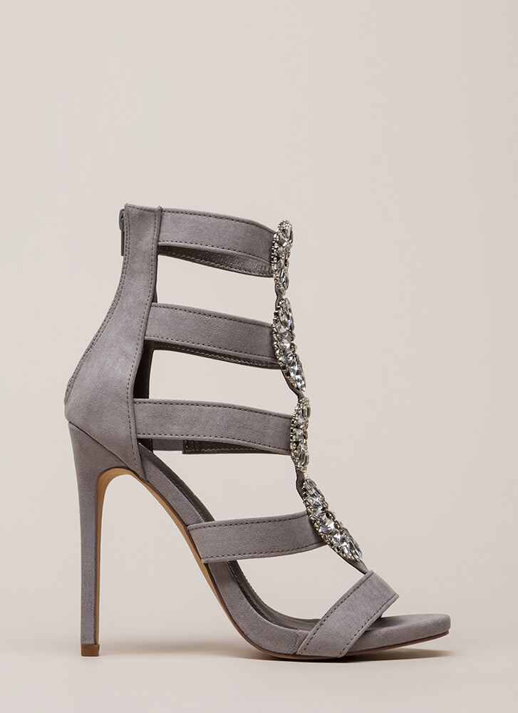 Wreath The Benefits Jeweled Caged Heels GREY