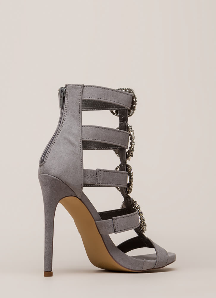 Wreath The Benefits Jeweled Caged Heels GREY (You Saved $29)