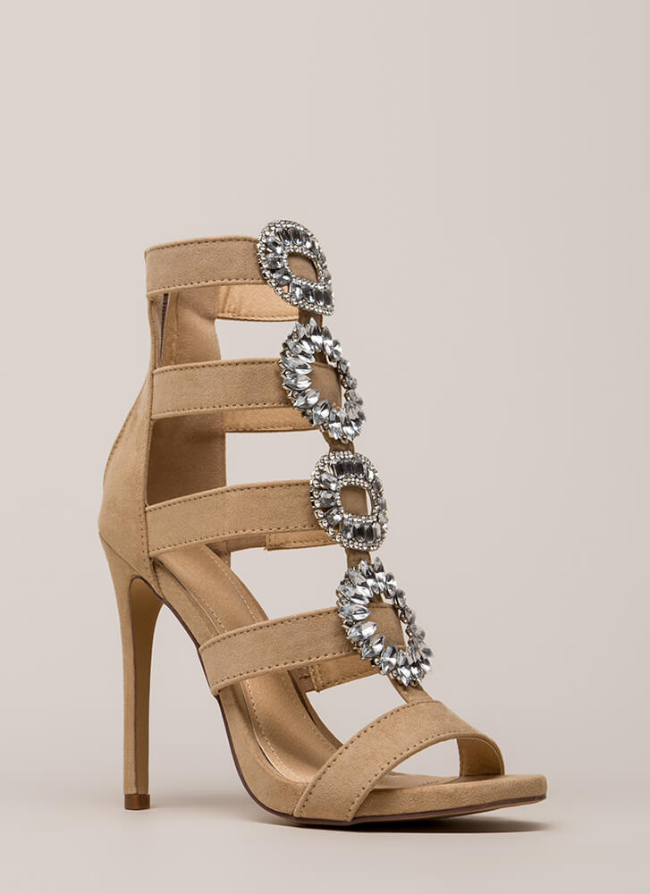 Wreath The Benefits Jeweled Caged Heels NUDE