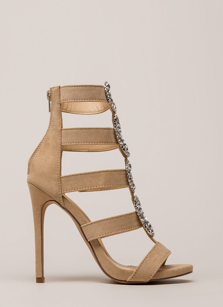 Wreath The Benefits Jeweled Caged Heels NUDE (You Saved $29)