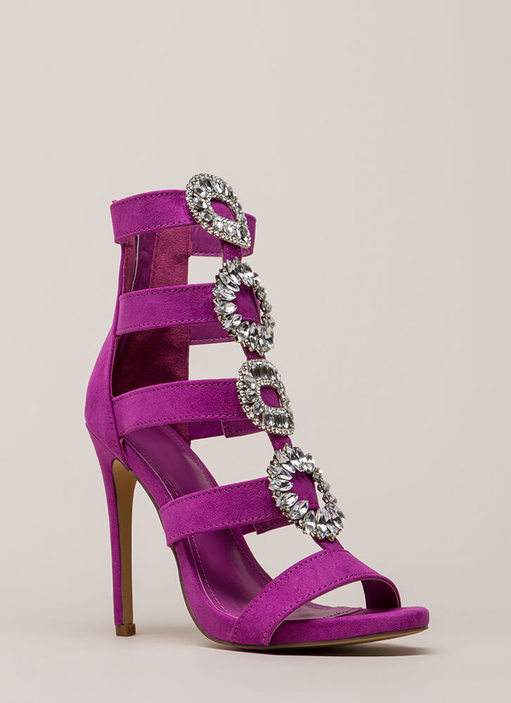 Wreath The Benefits Jeweled Caged Heels PURPLE