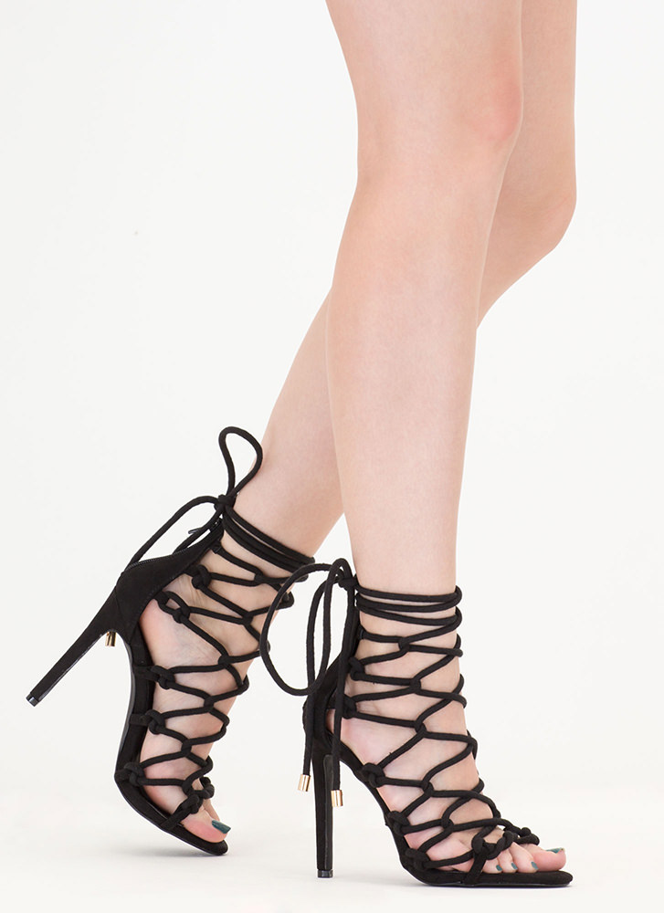 Believe It Or Knot Looped Lace-Up Heels BLACK