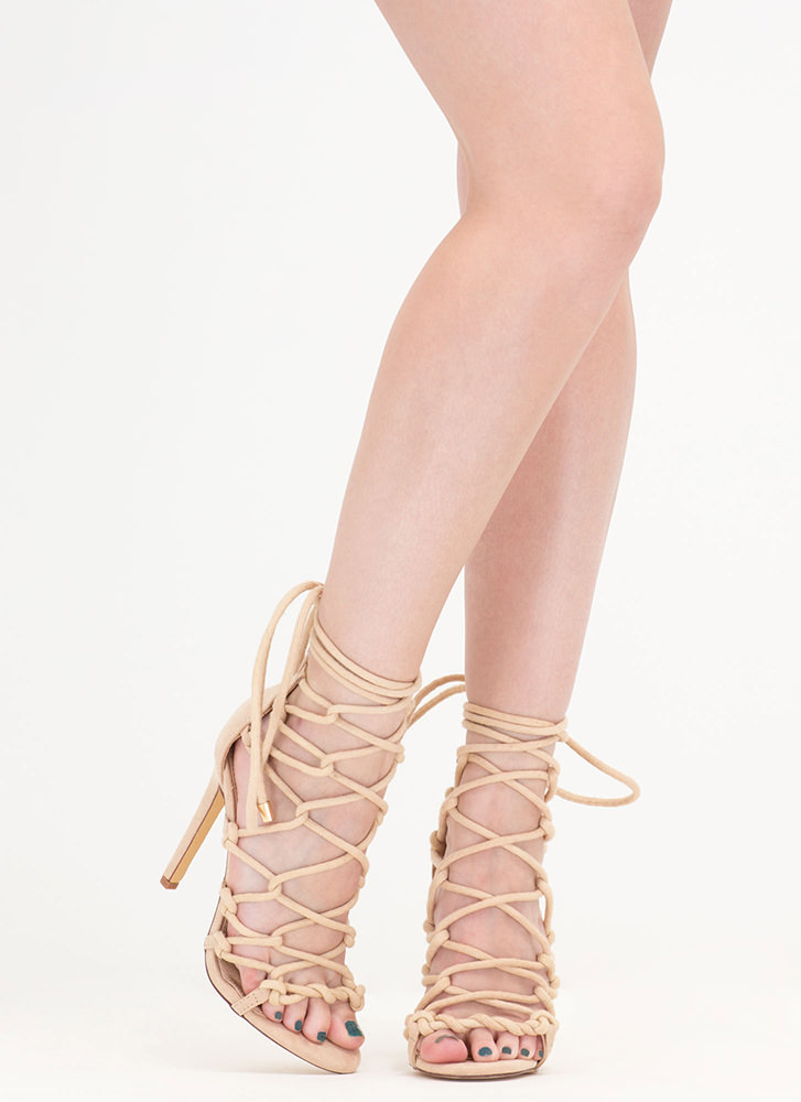 Believe It Or Knot Looped Lace-Up Heels NUDE