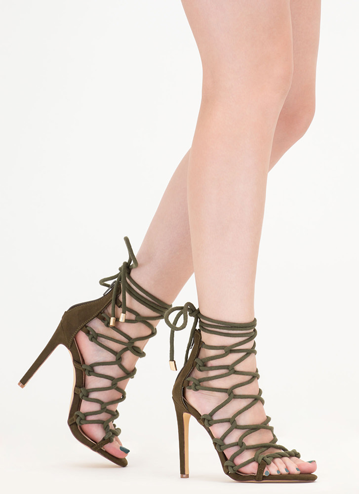 Believe It Or Knot Looped Lace-Up Heels OLIVE