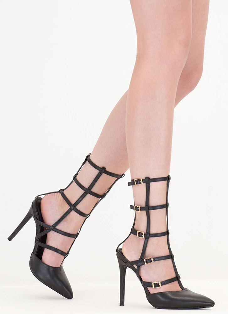 Cage In Point Strappy Gladiator Heels BLACK