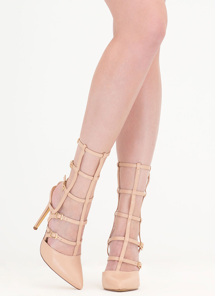 Cage In Point Strappy Gladiator Heels NUDE