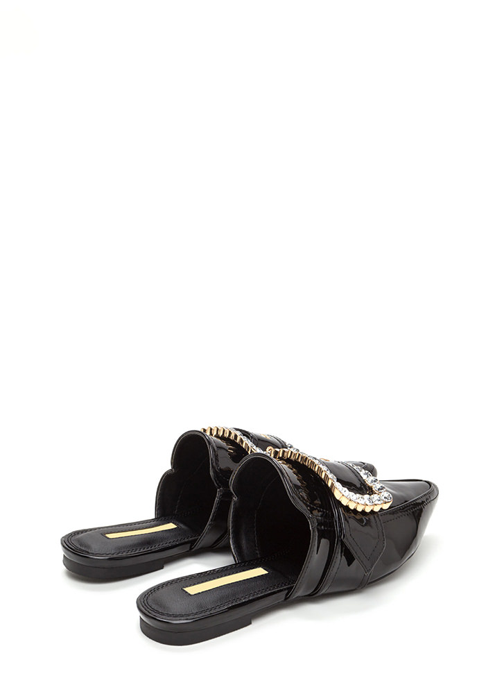 Buckle My Shoe Jeweled Mule Flats BLACK