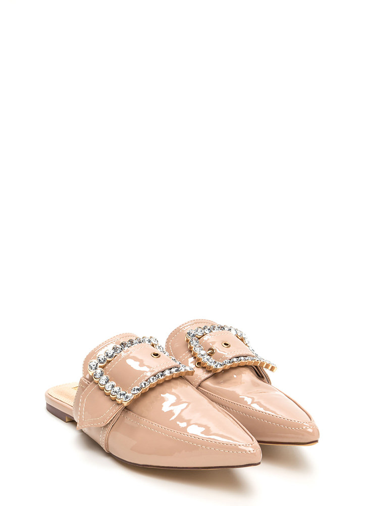 Buckle My Shoe Jeweled Mule Flats NUDE