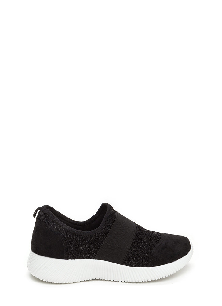 I've Been Band Glittery Slip-On Sneakers BLACK
